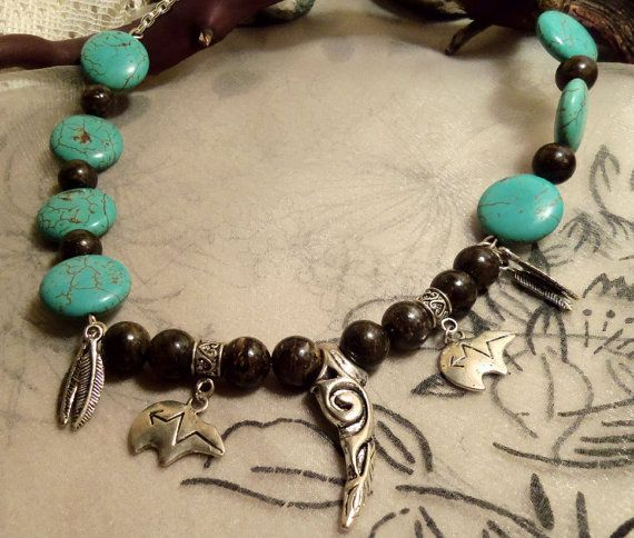 Bear claw heart line feather magnizite bronzite by GameorGoth, $20.00