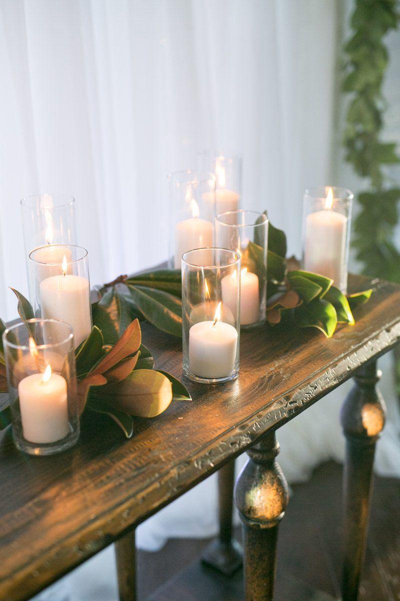 magnolia leaf votive candle arrangement wedding_Shauna Veasey Photography - The Celebration Society