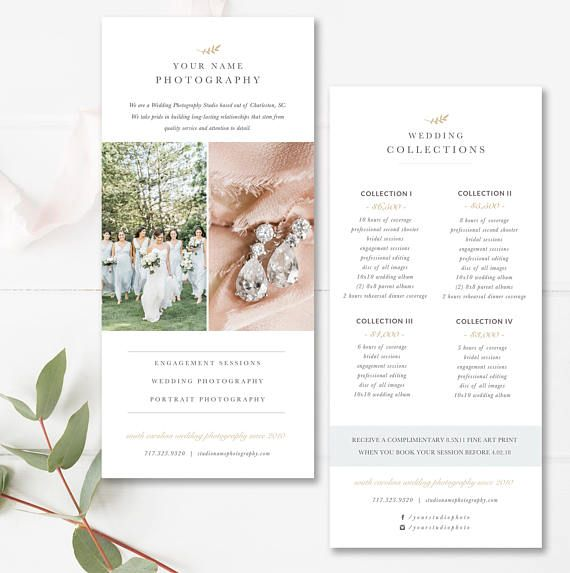 Rack Card Template For Photographers Wedding Photography Price List - Rack card template photoshop
