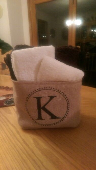 Wedding gift. Personalized bin and towels kayla.expresscreations@gmail.com https://www.facebook.com/expresscreations