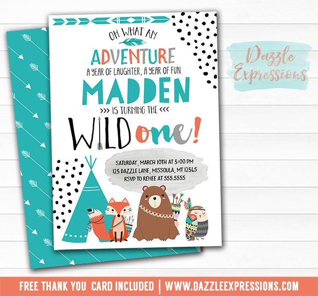 Printable Wild One Tribal Woodland Birthday Invitation