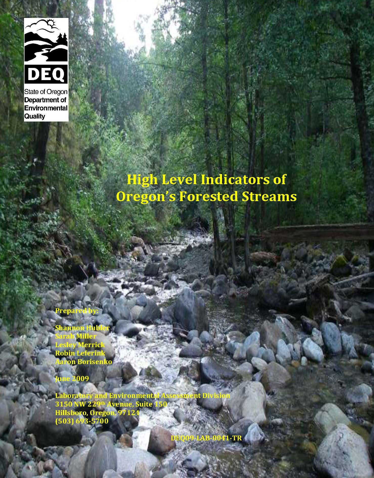 High level indicators of oregons forested streams by the