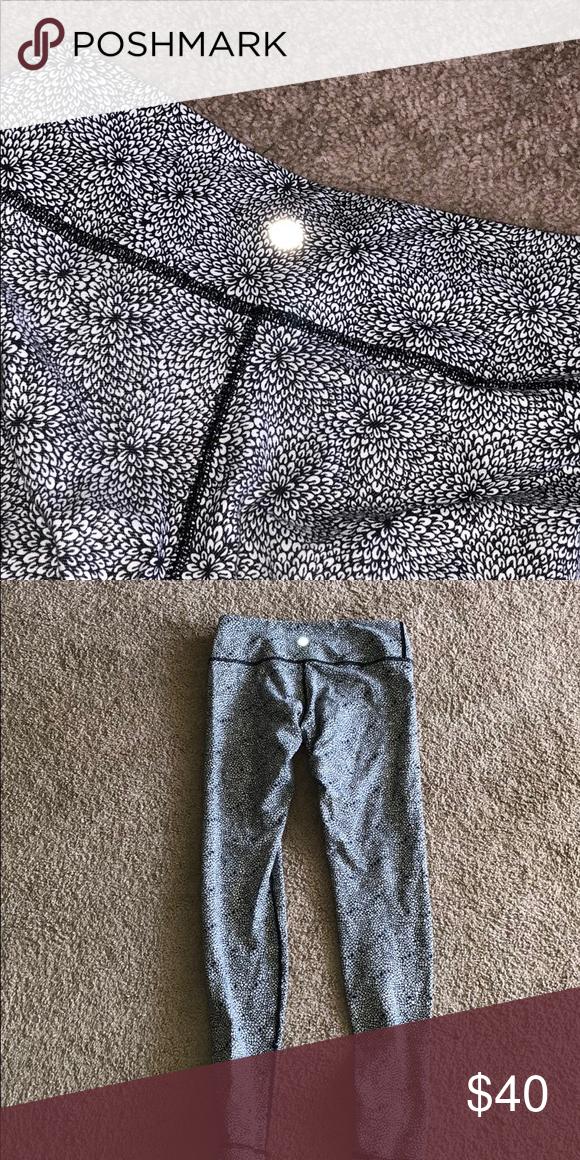 f37d3b75f7afc lululemon leggings white and black flower pattern leggings lululemon  athletica Pants Leggings