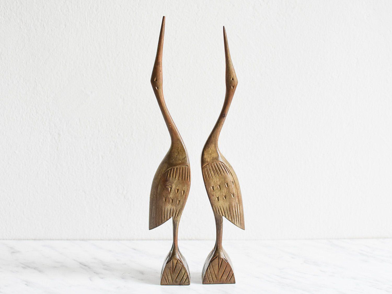 Kranich Figuren Vintage Kraniche Aus Holz Holz Kraniche 60er