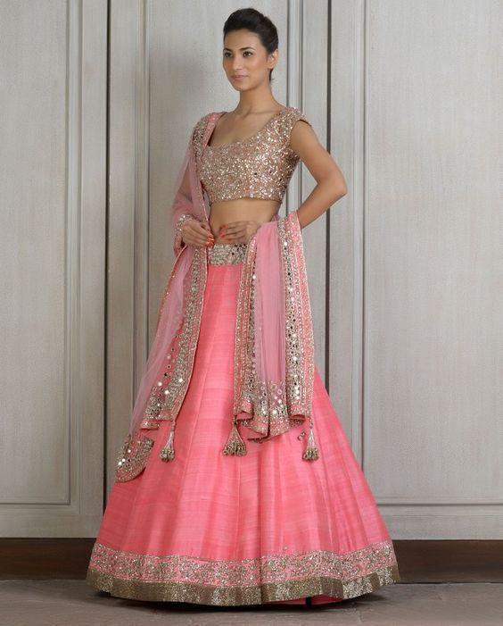 b5d52b08ae Pink Lengha Set with Mirror Work- Buy Couture,Lenghas,New Arrivals,Lehnga  Online | manishmalhotra.in: