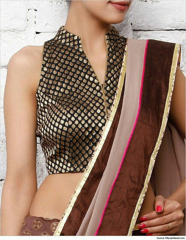 Stand Neck Blouse Designs : Latest high neck blouse designs for sarees in