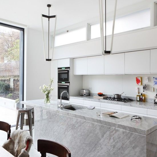 Best All White Kitchen With Marble Island Unit Modern Kitchen 400 x 300