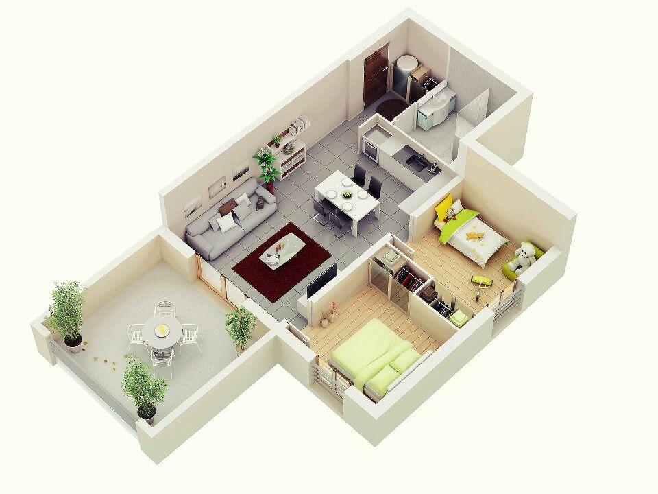 Apartamento pequeno casa em 2019 plantas de casas for Casa minimalista 60m2