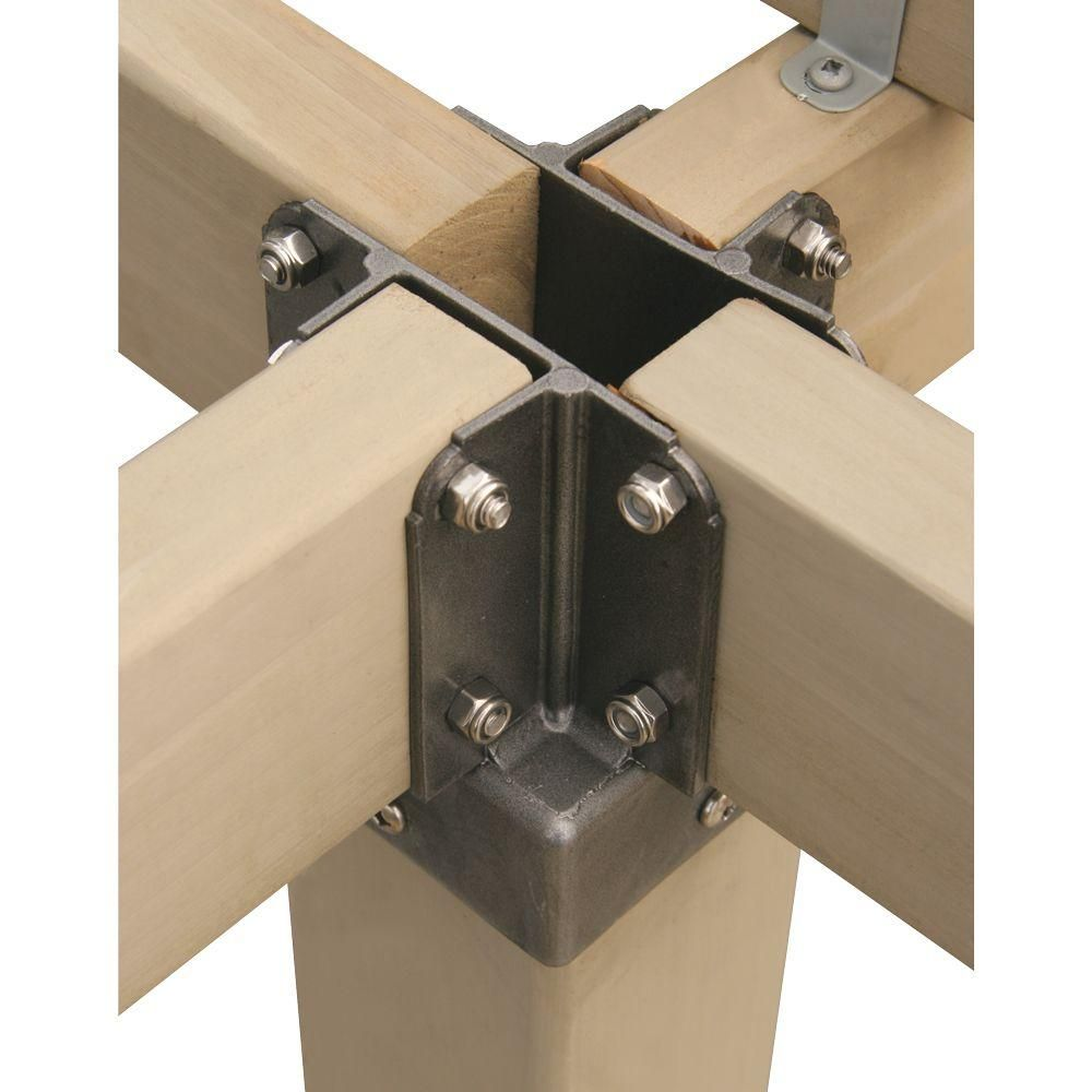 Yardistry 4 In X 4 In Aluminum Post Top Connector Yp21012 The Home Depot Wood Building Wood Joints Container House