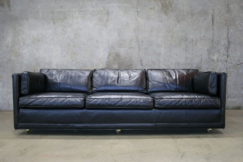Black Vintage Leather Tuxedo Sofa.