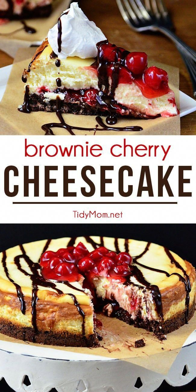 This Brownie Cherry Cheesecake starts with a fudgy brownie crust and is topped with cherry pie fill