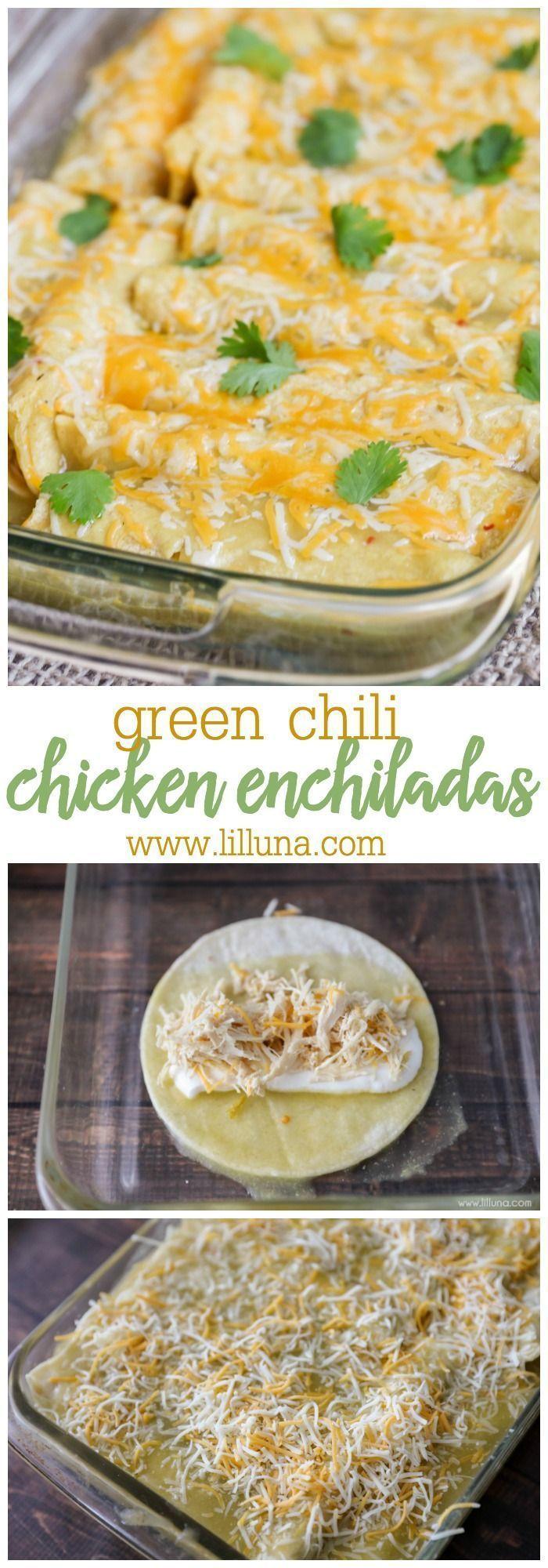 BEST Green Chile Chicken Enchiladas (+VIDEO) | Lil' Luna