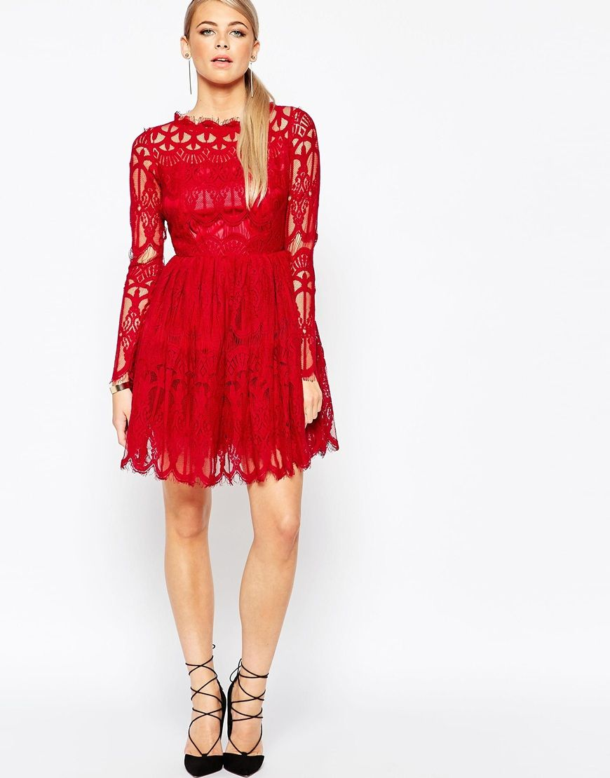 boohoo premium lace skater dress at asos | rote