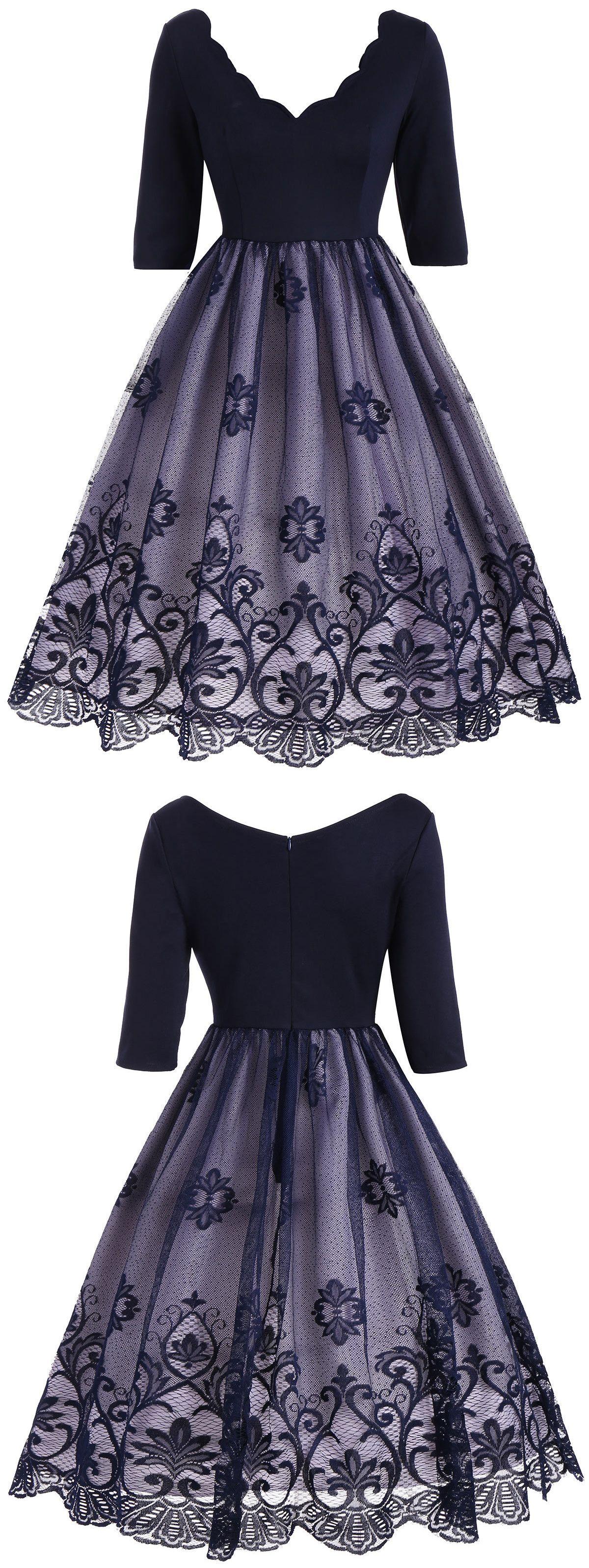 Floral Lace Panel V Neck Vintage Dress | Vestiditos, Vestido de gala ...