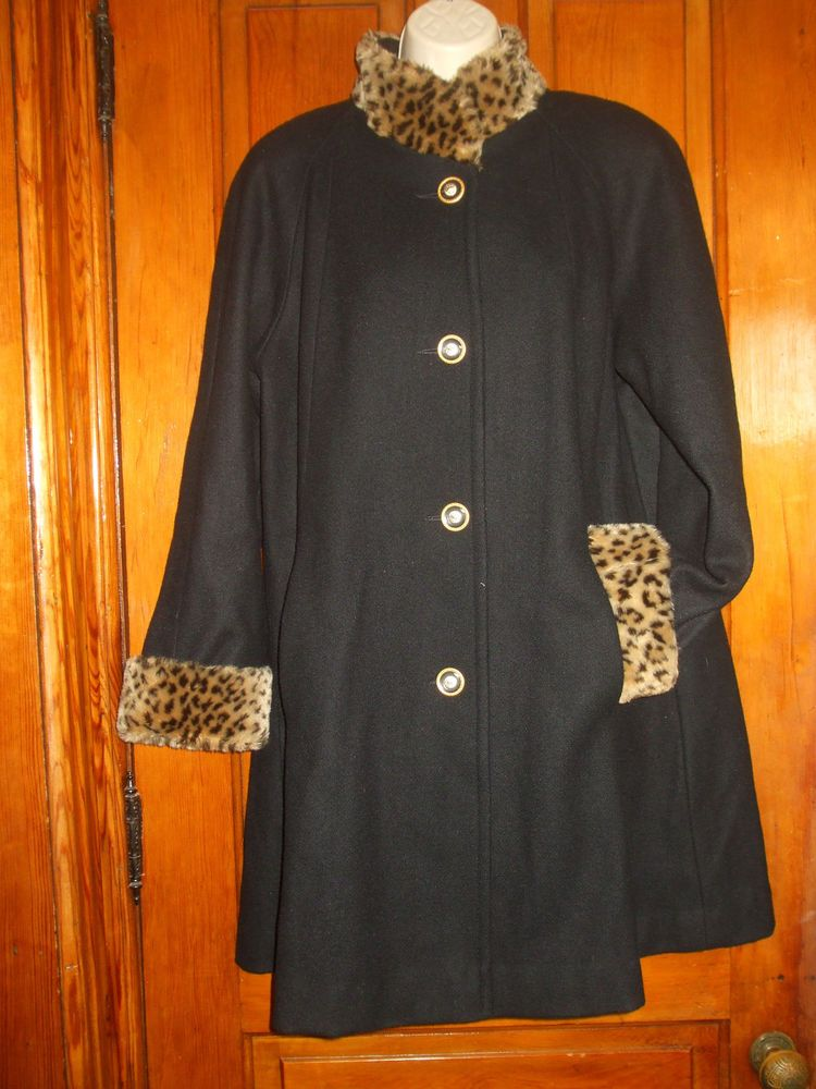 Vtg 80s 90s Herman Kay Black Wool Faux Fur Leopard Retro Style Swing Coat   394318873