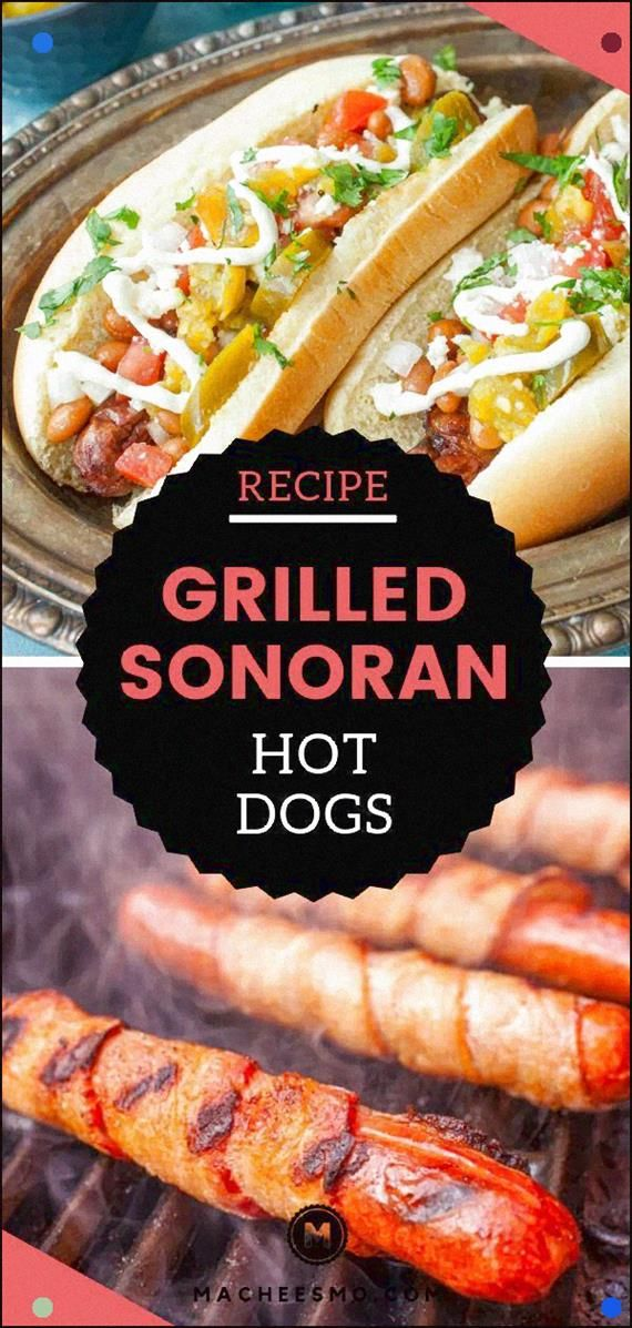 Bacon Wrapped Grilled Hot Dogs With All The Toppings You Could Ever Want. Otherwise called Sonoran Hot Dogs These Are The Perfect Jazzed-Up Hot Dog For A Backyard Cookout Or Summer Party. Roused By The Popular Tucson Version. It's An Easy And Fun Grilling Recipe For Dinner Or Anytime, So Get Those Hot Dog Buns Ready Asap #Hotdogs #Sonoranhotdog #Easyrecipes #Grilling #Bacon