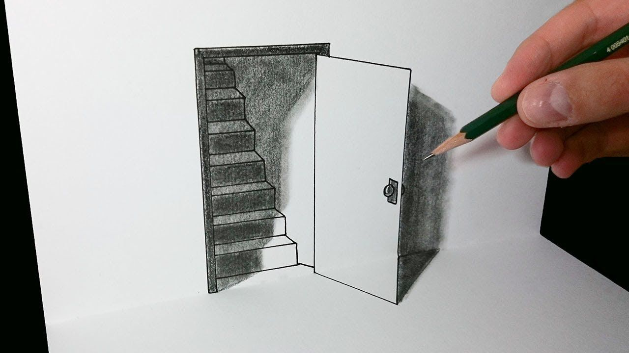 Como Dibujar Una Puerta 3d Ilusion Optica Dibujos 3d A Lapiz Ilusion Optica Dibujo Ilusiones Opticas