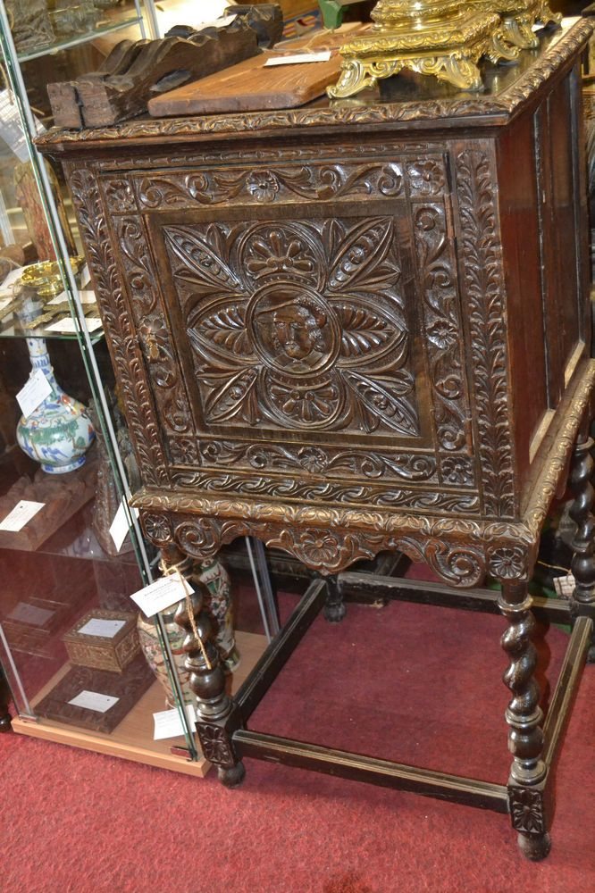 Early 19th century ebonised highly carved gothic style cabinet on stand, c1820  | eBay