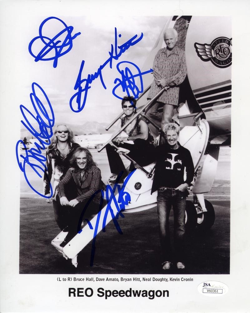 Reo Speedwagon Band Signed 8x10 Photo Certified Authentic Jsa Coa Reo Speedwagon Rock And Roll Signed Picture