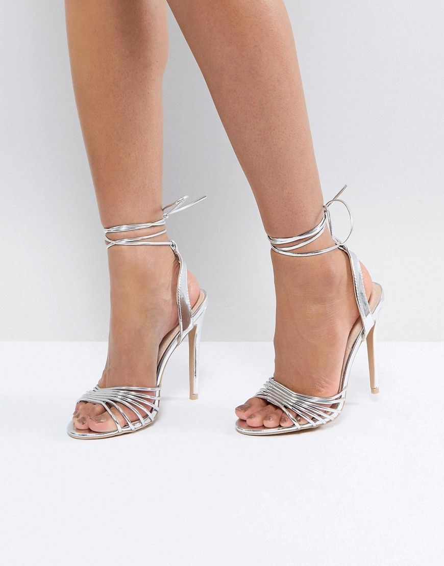 15348d702f76 TRUE DECADENCE SILVER ANKLE TIE HEELED SANDAL - SILVER.  truedecadence   shoes