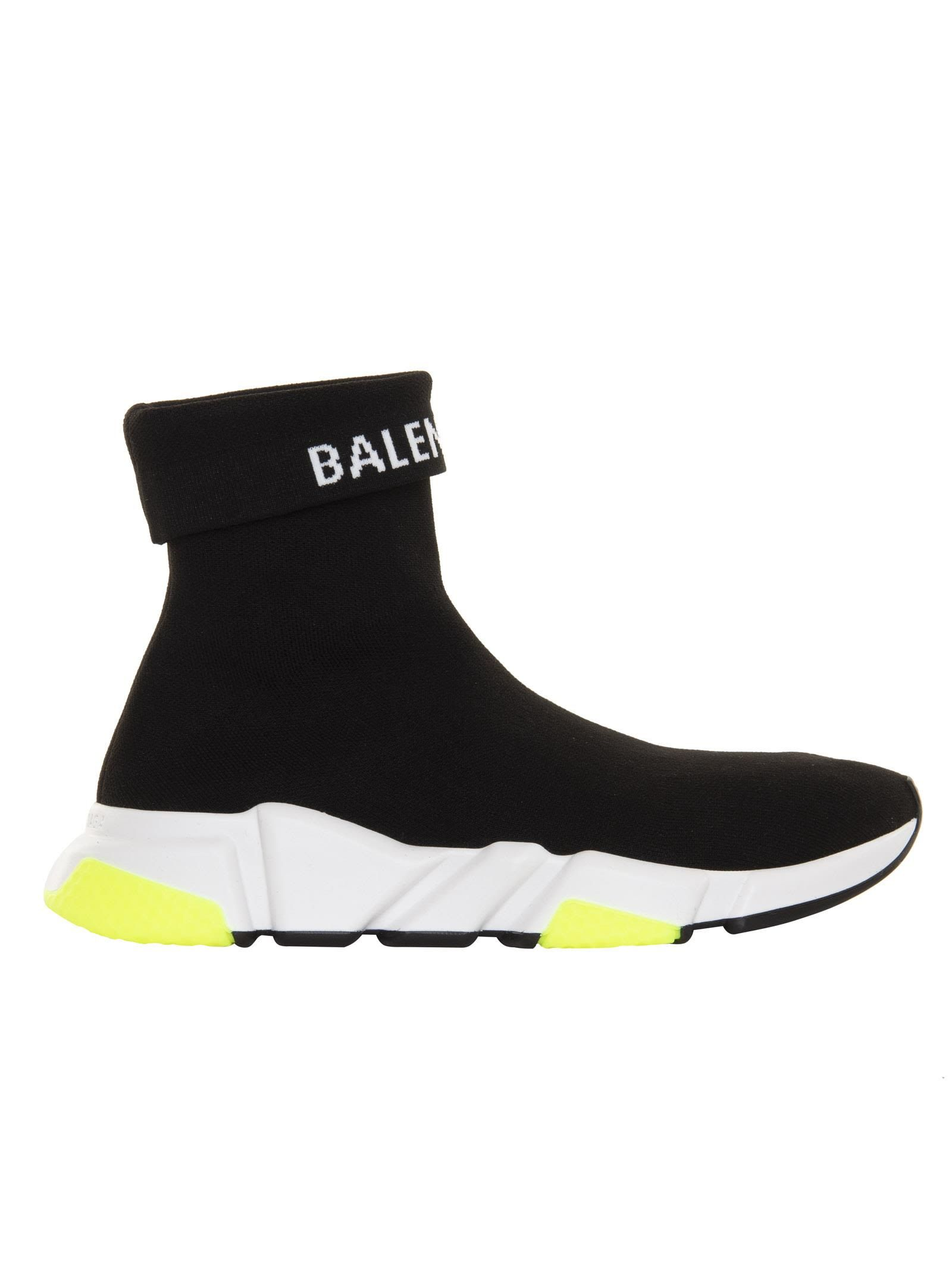 Speed Trainers Cuffed In Nero Bianco Balenciaga Speed Trainer