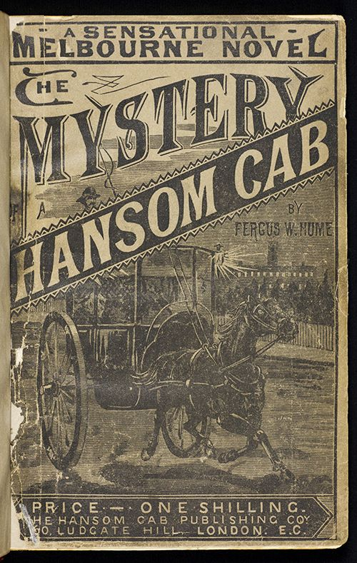 Illustrated cover page of The Mystery of the Hansom Cab by Fergus Hume (1889)