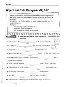 Adjectives That Compare: -er, -est Worksheet | Hot Resources 2.4 ...