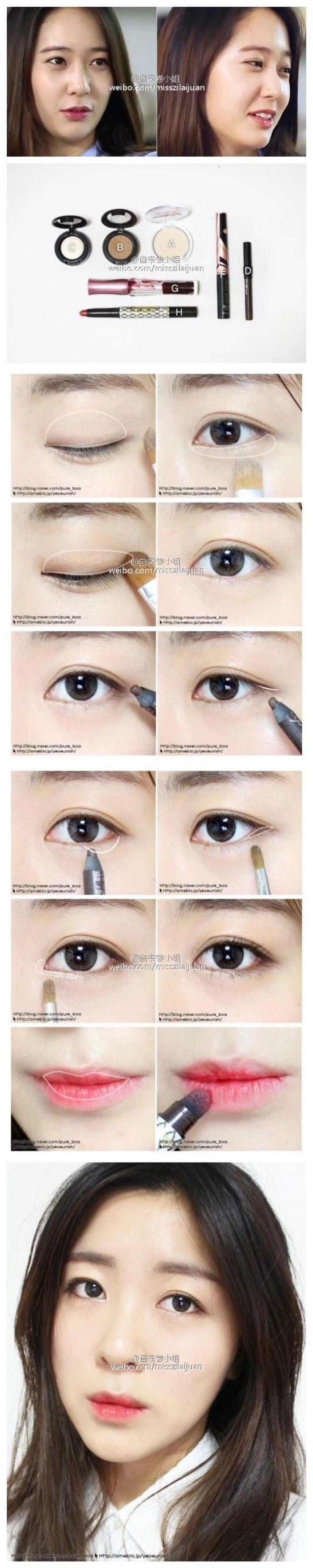 korean makeup tutorial Korean eye makeup, Asian eye