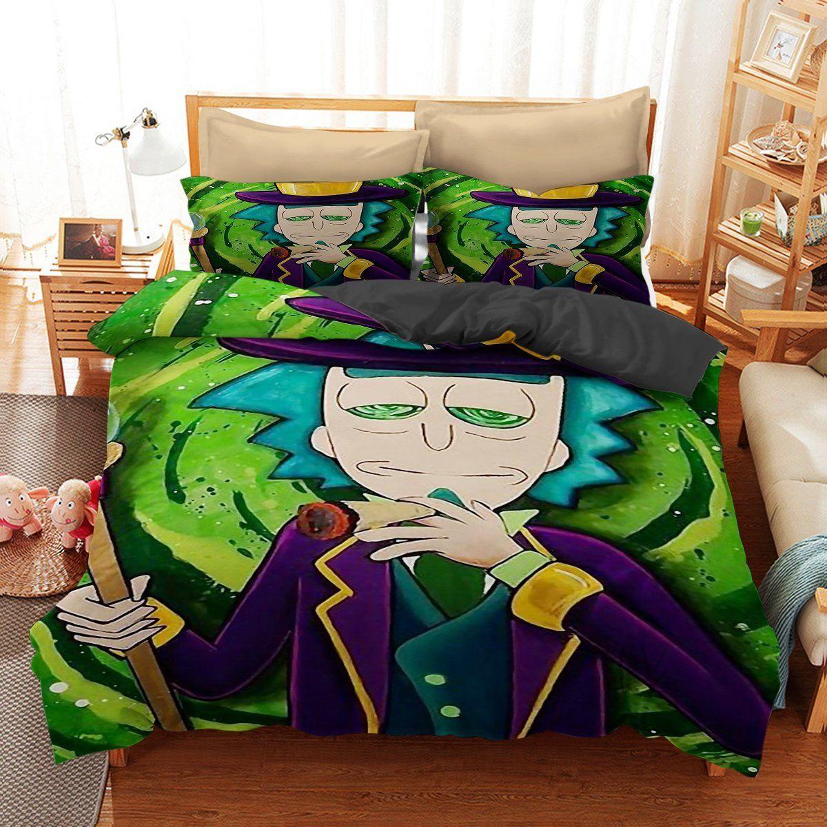 Bedding set rick and morty funny gift idea bedding set