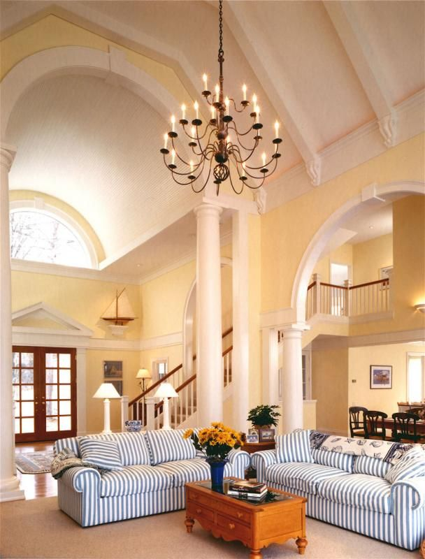 Stunning Living Space Terrific High Ceilings And Arches In