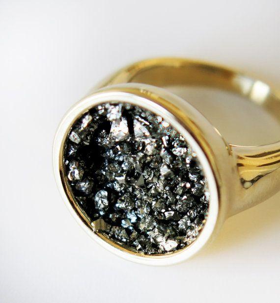 Statement gold ring, Crushed pyrite ring, Sterling silver ring, Silver 925 ring, Geometric silver ring, Circle ring, Cocktail ring, Druzy
