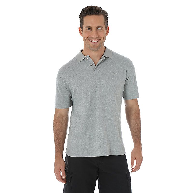 Wrangler Men's Advanced Comfort Solid Knit Poloight Heather Gray Shirt (Size: Large) Grey