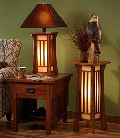 Delightful Craftsman Style Lighting.Like The End Table And The Table Lamp