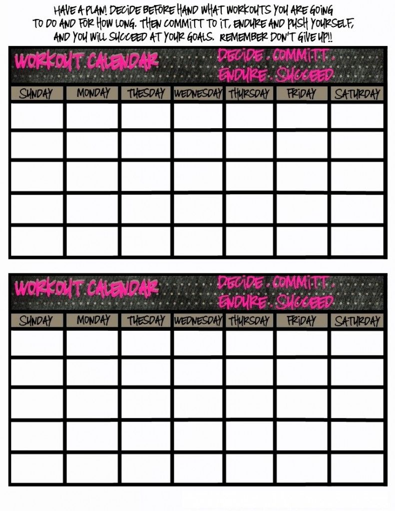 Printable Workout Calendar  Kiddo Shelter  Calendar Template