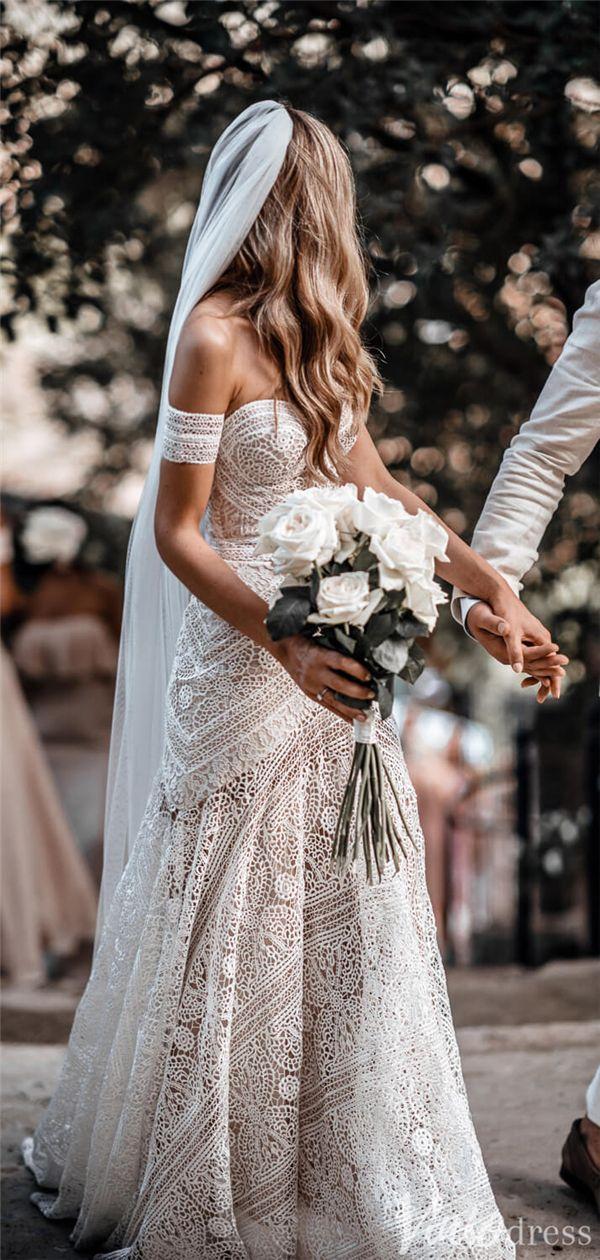 Sheath Lace Boho Wedding Dresses with Removable Sleeves VW1092