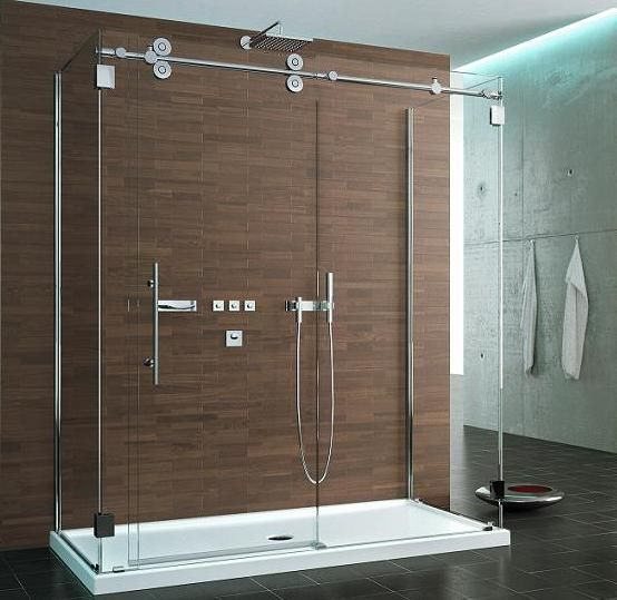 Heavy Glass Shower Enclosure with a Euro Header Glass