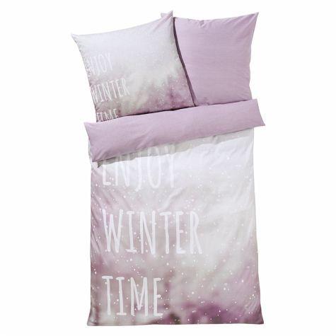 Bettwasche Enjoy Winter Time Grau Lila 135x200 Bettwasche Lila
