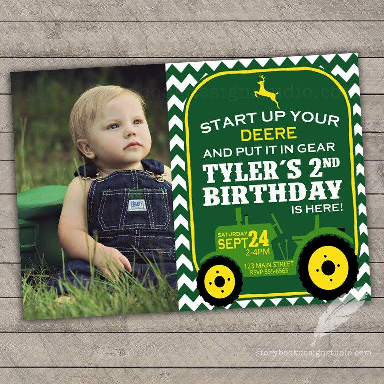 Tractor Birthday Party Invitations John Deere Birthday Party - John deere 2nd birthday party invitations