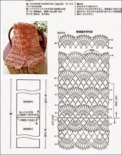 patrones de bufanda punto abanico para tejer con ganchillo | Bordes ...