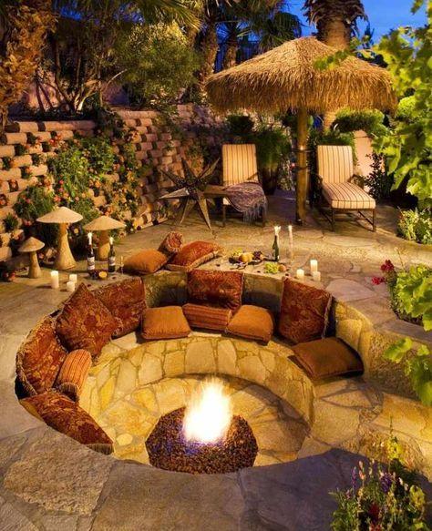 gemtlicher sitzplatz un eine gesenkte runde feuerstelle - Versunkene Feuerstelle Designs
