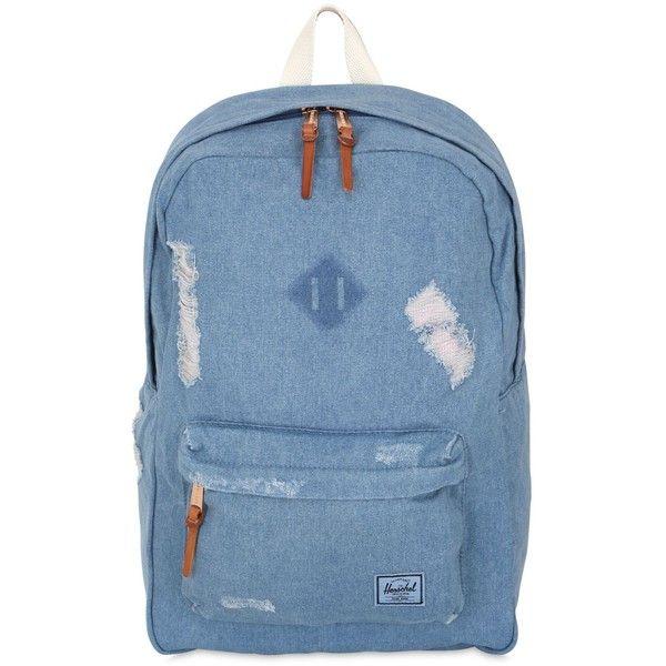 Herschel Women 25l Heritage Destroyed Denim Backpack (120 NZD) ❤ liked on Polyvore featuring bags, backpacks, denim, day pack backpack, zip bag, herschel backpack, backpack laptop bag and vertical-zip laptop backpack