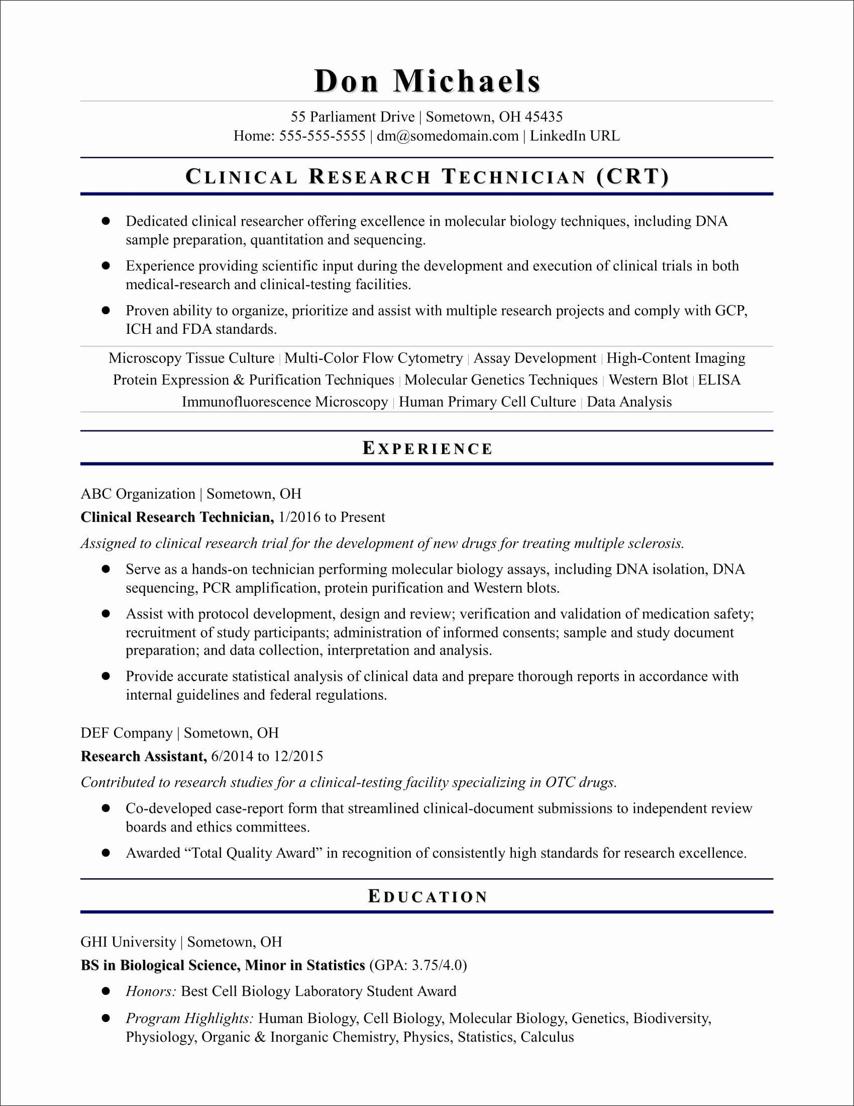 Clinical Research Coordinator Resume Elegant 10 Clinical Research Coordinator Resume Biology Labs Resume Skills Student Resume