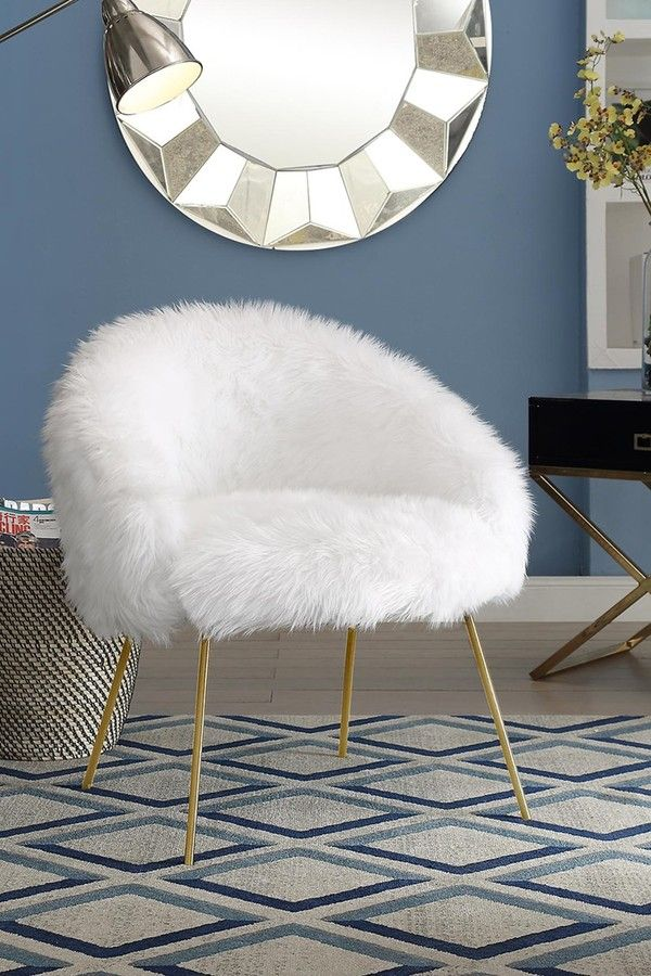 Fluffy Accent Chair //White #furry #fluffy #vanity #fuzzy #modern  #roomideas #livingroomideas #inspo #roominspo #moderndecor #furniture #chair  #ad