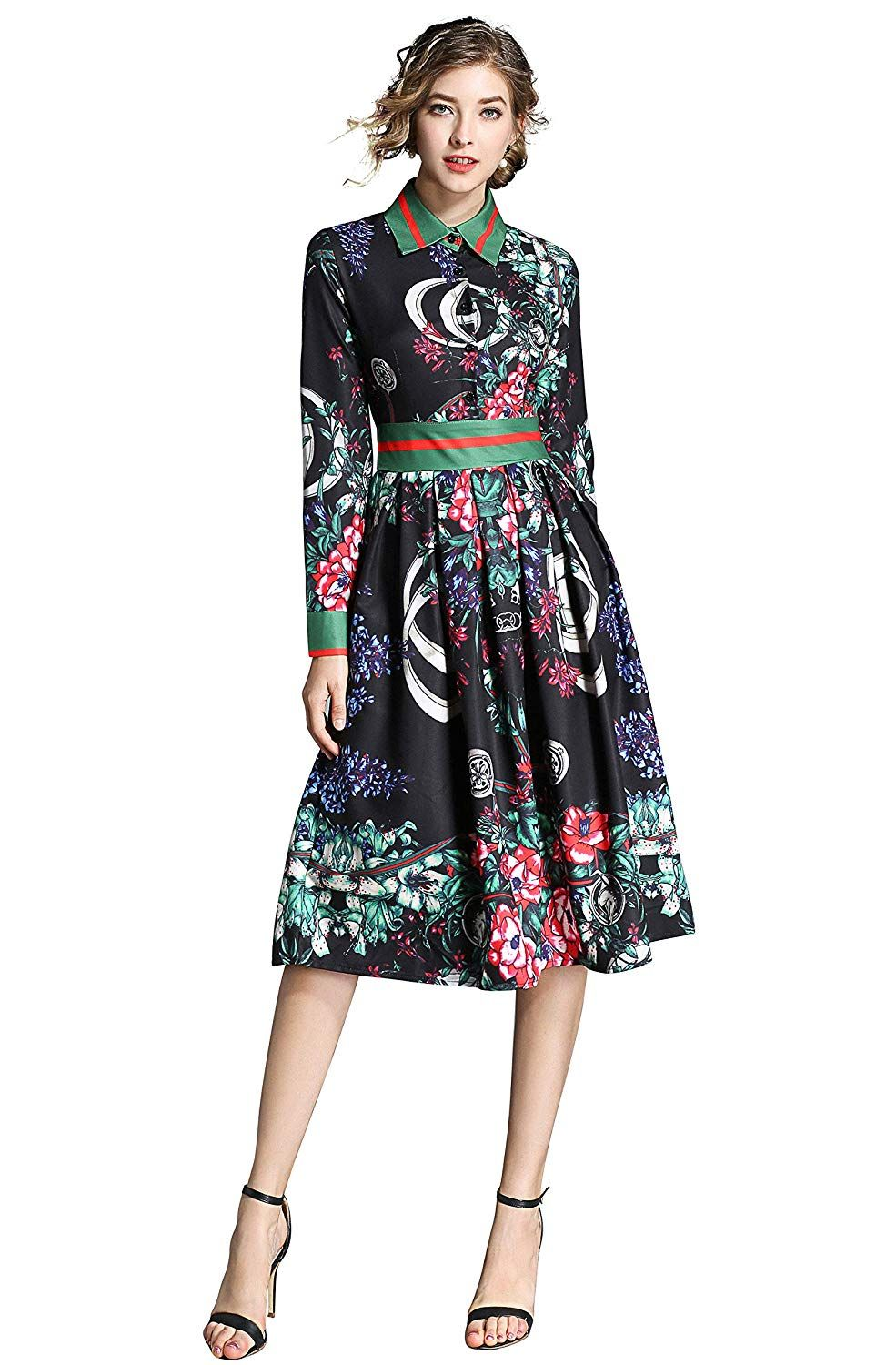 Lai Meng Five Cats Women S 3 4 Sleeve Floral Print Button Up Casual A Line Party Swing Midi Dress Midi Swing Dress Casual Dresses For Women Womens Dresses [ 1500 x 985 Pixel ]