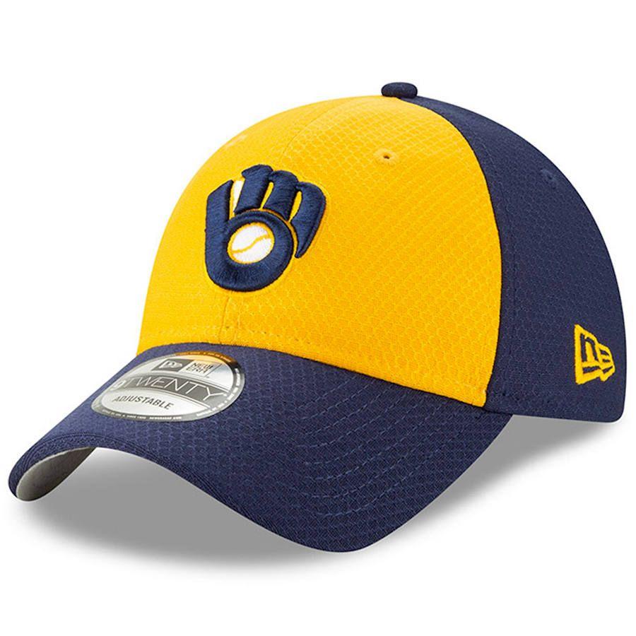 brand new aaf38 f1e18 Men s Milwaukee Brewers New Era Yellow Blue 2019 Batting Practice Alternate  9TWENTY Adjustable Hat, Your Price   25.99