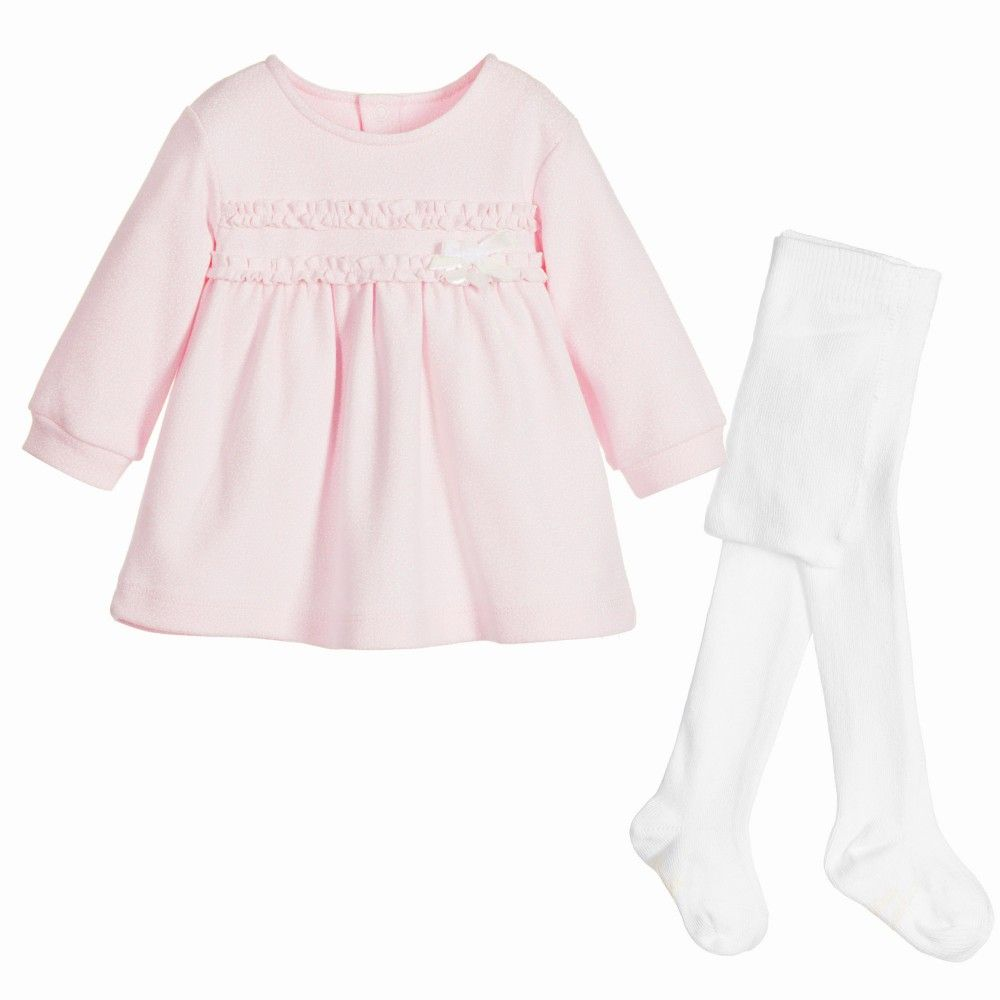 Tutto Piccolo - Baby Girls Pink Dress & White Tights Set   Childrensalon