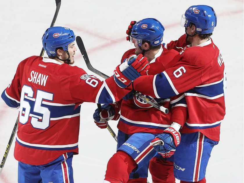 Montreal Canadiens' Alexander Radulov, centre, celebrates goal with teammates Andrew Shaw (65) and Shea Weber (6) during second period NHL action in Montreal on Tuesday January 24, 2017.