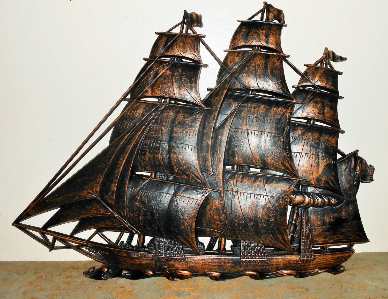Vintage Wall Decor Ship Large Wall Plaque Nautical Decor Coppercraft Guild Plastic Sailing Ship Pirate D Vintage Wall Decor Pirate Decor Nautical Decor