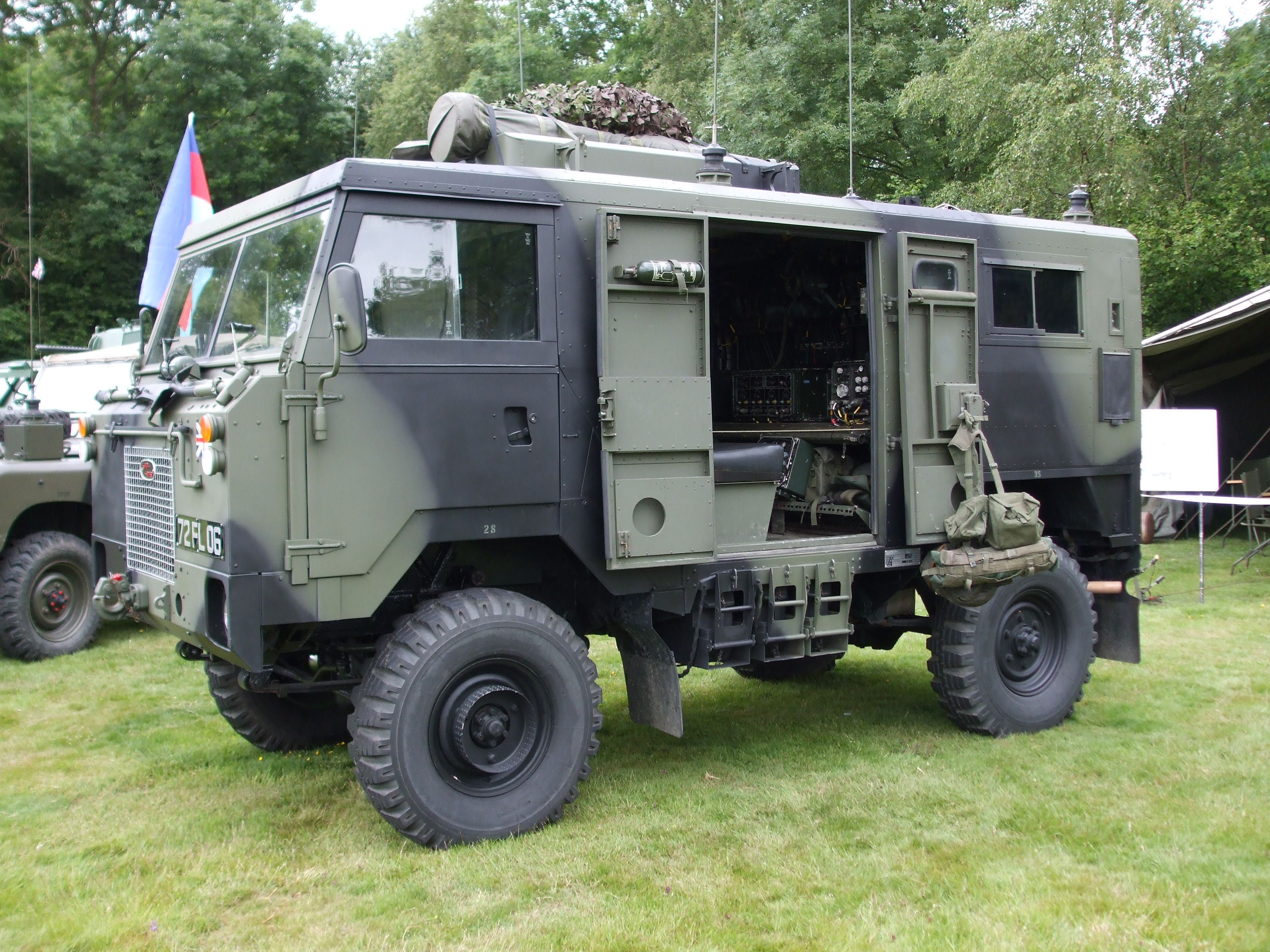nicely restored land rover 101 fc with a radio body. alternative to