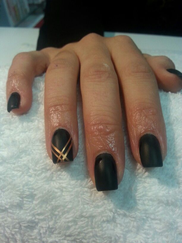Matte Black With Gold Striping Tape Nails Pinterest Striping